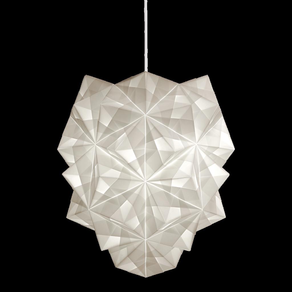 Fritlagt foto af original håndfoldet Sonobe Light papirlampe lavet af Charlotte Brandt, model Amaea large pendel