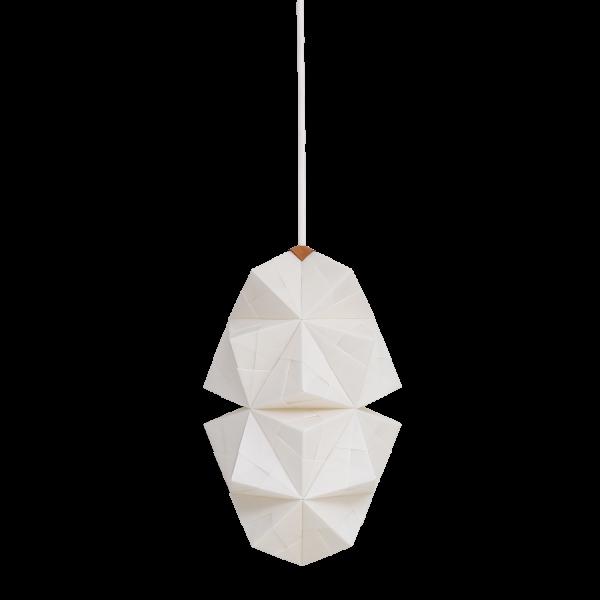 Fritlagt foto af original håndfoldet Sonobe Light papirlampe lavet af Charlotte Brandt, model Cala, small pendel