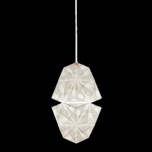 Fritlagt foto af original håndfoldet Sonobe Light papirlampe lavet af Charlotte Brandt, model Cala, smal pendell