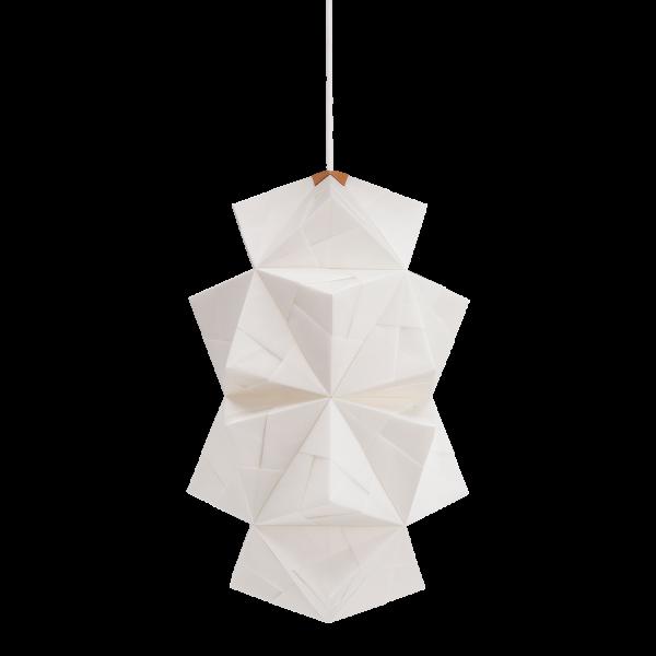 Fritlagt foto af original håndfoldet Sonobe Light papirlampe lavet af Charlotte Brandt, model Cala, large pende