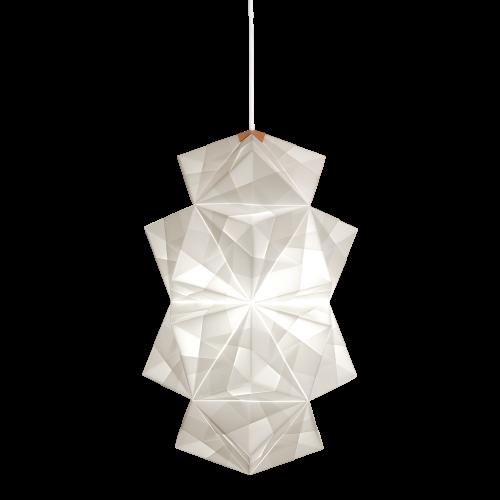 Fritlagt foto af original håndfoldet Sonobe Light papirlampe lavet af Charlotte Brandt, model Cala, large pendel