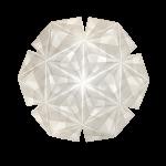 Sonobe Light model Cenora str large, foldet af 48 ark papir, vist med lyset tændt
