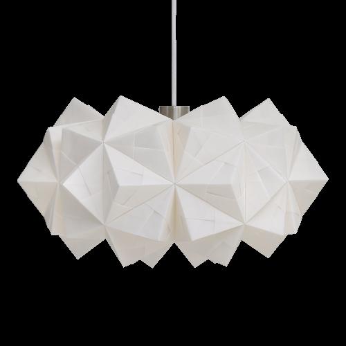 Fritlagt foto af original håndfoldet Sonobe Light papirlampe lavet af Charlotte Brandt, model siphonia, spisebordspendel