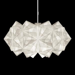 Fritlagt foto af original håndfoldet Sonobe Light papirlampe lavet af Charlotte Brandt, model Siphonia pendel