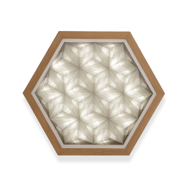 Foto af Sonobe Sense håndfoldet papirlampe med lyset tændt så man kan se nuancerne i alle papirfolderne.