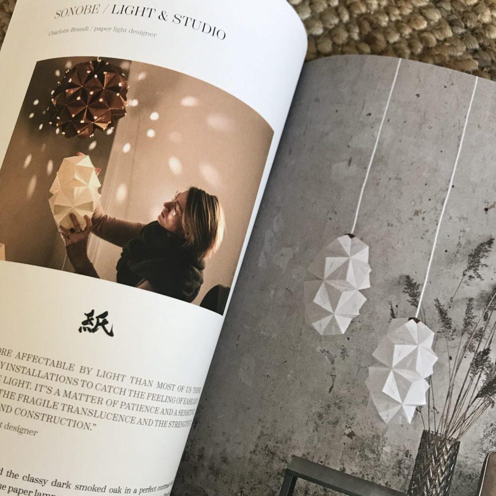 Shokunin Magazine eksklusivt begrænset tryk om dansk-japansk design og håndværk, Charlotte Brandts håndfoldede papirlamper og Sonobe Light omtalt på 4 sider