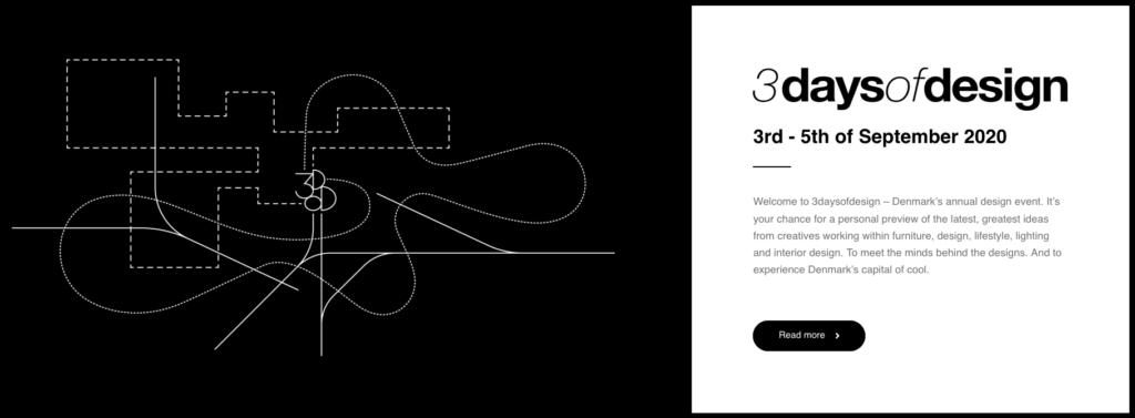 Foto med info og logo 3daysofdesign 2020
